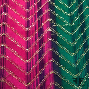 Two Tone Printed Silk Chiffon with Metallic Chevrons - Green/Pink/Gold - Fabrics & Fabrics