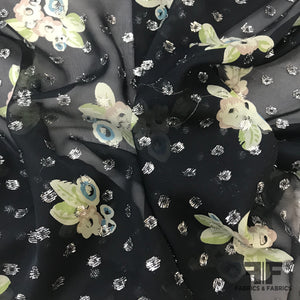 Floral Printed Silk Chiffon with Metallic Dots - Black/Metallic - Fabrics & Fabrics