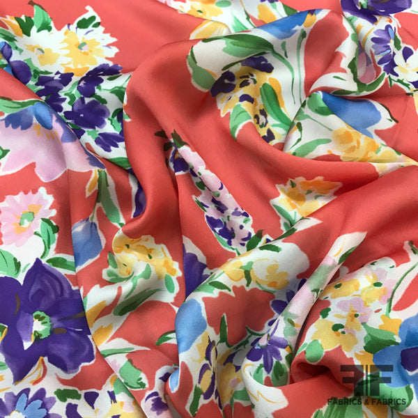 Italian Spring Floral Printed Satin Georgette - Coral/Multicolor - Fabrics & Fabrics