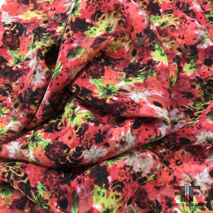 Floral Printed Silk Georgette - Red - Fabrics & Fabrics