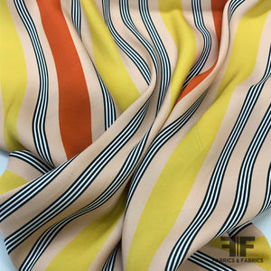 Striped Satin Backed Crepe - Peach/Orange/Yellow/Black
