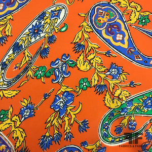 Paisley Printed Crepe de Chine - Orange