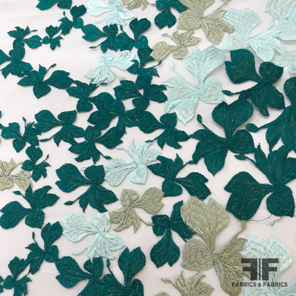 Foliage Embroidered Netting - Green/Blue/Beige - Fabrics & Fabrics