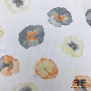 Floral Silk Chiffon - White/Orange/Grey - Fabrics & Fabrics