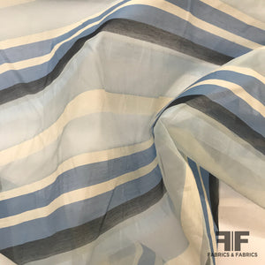 Striped Italian Silk Organza - Blue/White - Fabrics & Fabrics