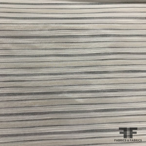 French Striped Metallic Brocade - White/Grey - Fabrics & Fabrics