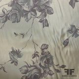 Floral Printed Poly/Rayon Twill - Green/Purple - Fabrics & Fabrics