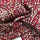 Pleated Abstract Animal Light-Weight Silk Brocade - Red - Fabrics & Fabrics