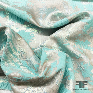 Icy Metallic Brocade - Blue/White/Silver - Fabrics & Fabrics
