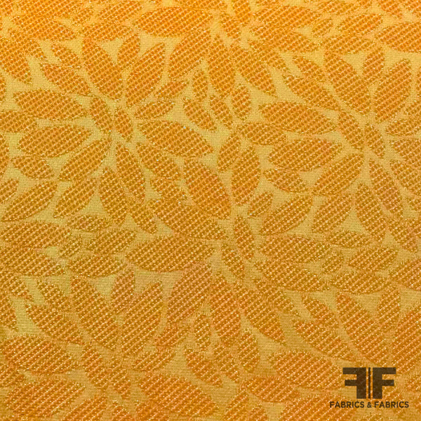 Bright Floral Textured Brocade - Orange - Fabrics & Fabrics NY
