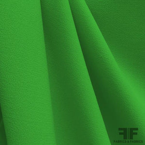 Italian Double Faced Wool Crepe - Shamrock Green - Fabrics & Fabrics