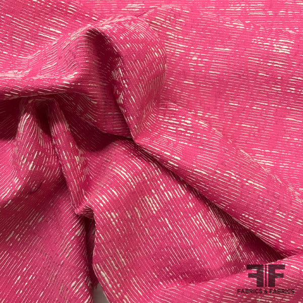 Exposed Thread Brocade - Hot Pink/White - Fabrics & Fabrics NY