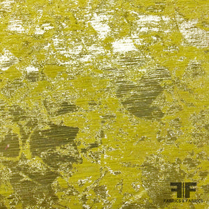 Abstract Metallic Brocade - Yellow/Metallic Silver - Fabrics & Fabrics NY