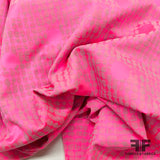 Italian Neon Polka Dot Stretch Brocade - Pink/Purple - Fabrics & Fabrics