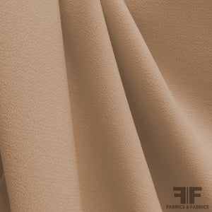Italian Double Faced Wool Crepe - Medium Brown - Fabrics & Fabrics