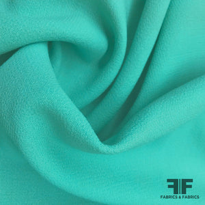 Italian Double Faced Wool Crepe - Aruba Blue - Fabrics & Fabrics