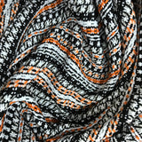 Italian Striped Woven Cotton - Black / Orange / White - Fabrics & Fabrics