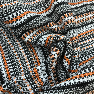 Italian Striped Woven Cotton - Black / Orange / White