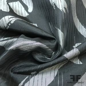 French Abstract Taffeta - Silver/Black - Fabrics & Fabrics