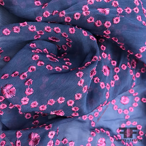 Embroidered Cotton Voile - Blue / Pink - Fabrics & Fabrics NY