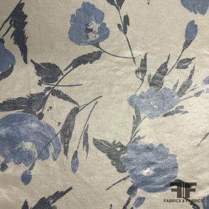 Ralph Lauren Floral Silk Shirting - Blue/Metallic - Fabrics & Fabrics
