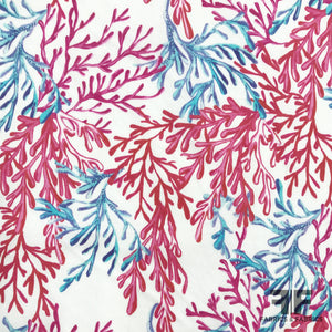 Flowers of the Sea Printed Cotton - Pink/Red/Blue - Fabrics & Fabrics