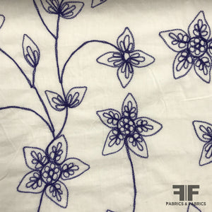 Floral Embroidered Cotton - Blue/White - Fabrics & Fabrics