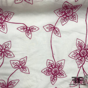 Floral Embroidered Cotton - Magenta/White - Fabrics & Fabrics