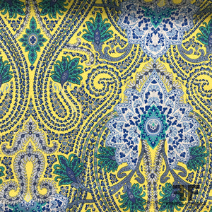 Paisley Printed Cotton - Yellow/Blue - Fabrics & Fabrics