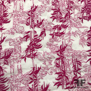 Abstract Embroidered Cotton - White/Pink - Fabrics & Fabrics NY