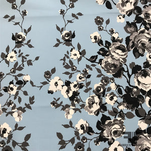 Floral Printed Cotton - Grey/Black/Baby Blue - Fabrics & Fabrics