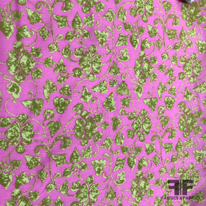 Floral Printed Cotton - Hot Pink/ Green - Fabrics & Fabrics