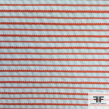 Pinstripe Seersucker Printed Cotton - Orange/White