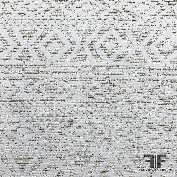 Italian Geometric Suiting - Ivory/Metallic Gold - Fabrics & Fabrics