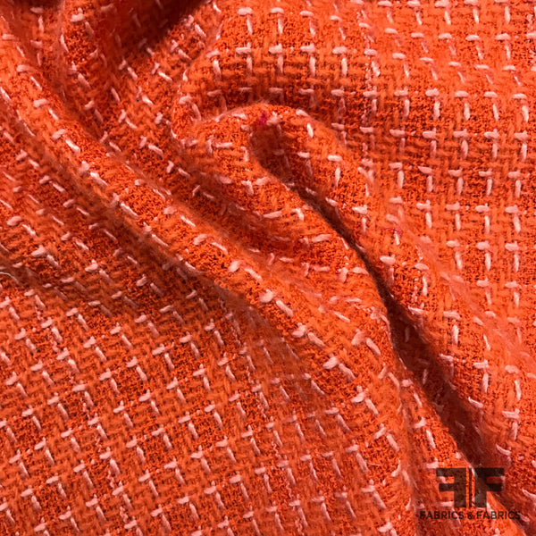 Check Wool Tweed - Orange - Fabrics & Fabrics NY