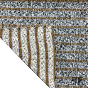Italian Reversible Striped Wool Tweed - Mauve / Mustard / Grey - Fabrics & Fabrics