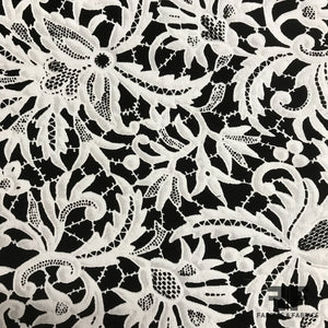 Lace Printed Cotton Panel - Black/White - Fabrics & Fabrics