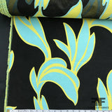 Abstract Embroidered Organza - Blue/Green/Black - Fabrics & Fabrics NY