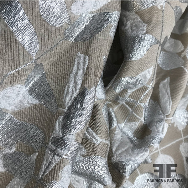Italian Abstract Metallic Brocade - Beige/Silver - Fabrics & Fabrics