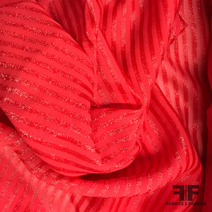 Italian Metallic Striped Chiffon - Bold Red - Fabrics & Fabrics