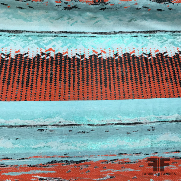 Italian Abstract Large Scale Metallic Brocade - Blue/Orange - Fabrics & Fabrics