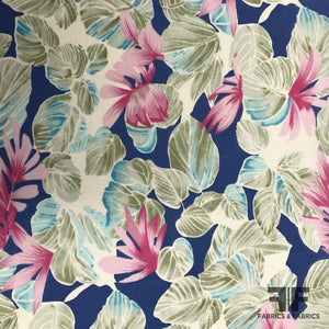 Tropical Floral Silk Printed Georgette - Blue/Pink/Green - Fabrics & Fabrics