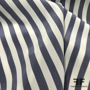 Striped Silk Printed Crepe de Chine  - Blue / White - Fabrics & Fabrics
