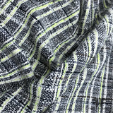 Checkered Multicolor Tweed - Black / White / Lime Green - Fabrics & Fabrics NY