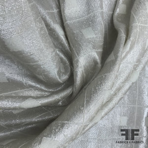 Metallic Window Pane Check Wool Blend Coating - Ivory/Silver - Fabrics & Fabrics