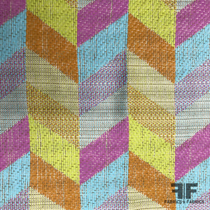 French Novelty Geometric Raffia & Cotton Blend - Multicolor - Fabrics & Fabrics