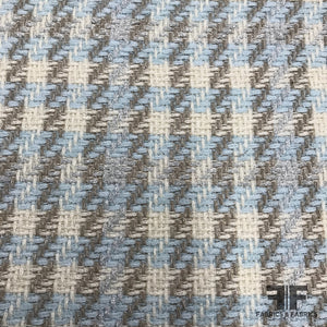 Italian Metallic Check Blend Tweed - Baby Blue/Metallic - Fabrics & Fabrics