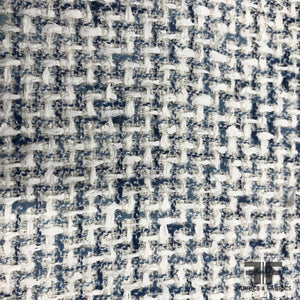 French Woven Textured Tweed - Blue/White - Fabrics & Fabrics