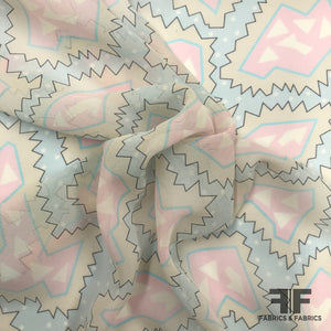 Italian Abstract Pastel Printed Silk Georgette - Pink / Blue - Fabrics & Fabrics