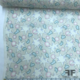 Italian Abstract Pastel Printed Silk Georgette - Beige / Pink / Blue - Fabrics & Fabrics